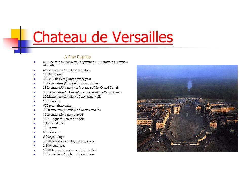 Chateau de Versailles A Few Figures 800 hectares (2,000 acres) of grounds 20 kilometres (12 miles) of roads 46 kilometres (27 miles) of trellises 200,