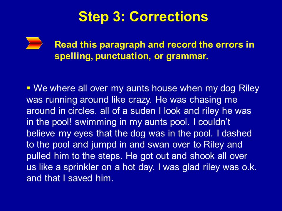 Step 3: Corrections Read this paragraph and record the errors in spelling, punctuation, or grammar.