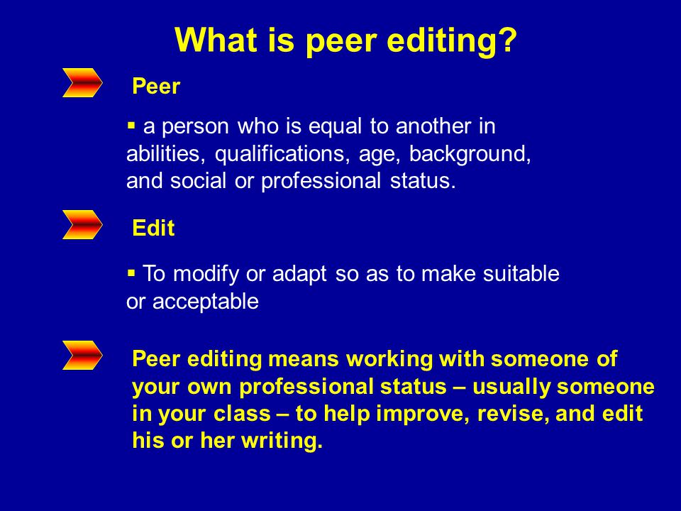 What is peer editing.