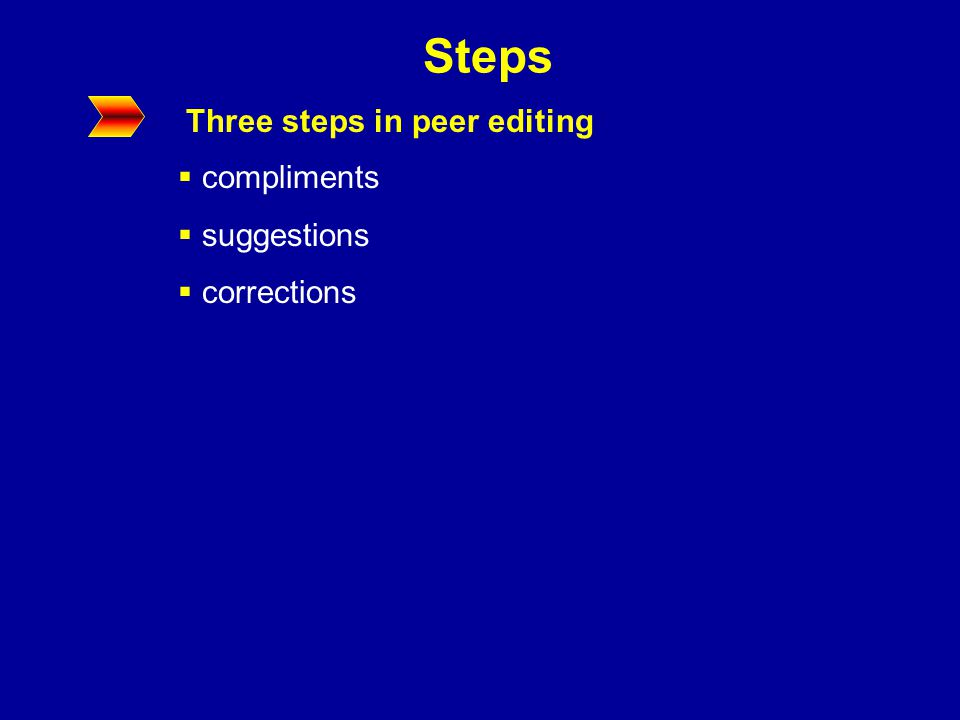 Steps Three steps in peer editing  compliments  suggestions  corrections