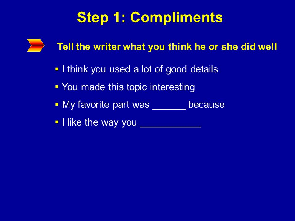 Step 1: Compliments Read this paragraph and record three compliments as if you were doing a peer review.