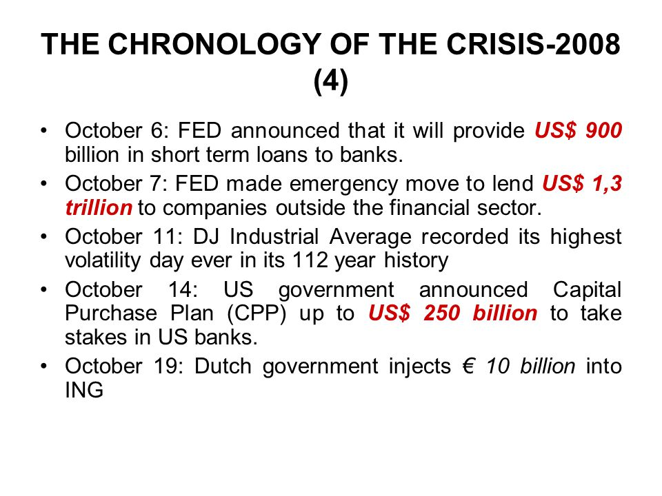 THE CHRONOLOGY OF THE CRISIS-2008 (4) October 6: FED announced that it will provide US$ 900 billion in short term loans to banks.