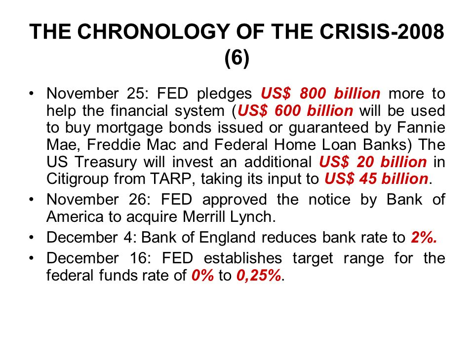 THE CHRONOLOGY OF THE CRISIS-2008 (6) November 25: FED pledges US$ 800 billion more to help the financial system (US$ 600 billion will be used to buy mortgage bonds issued or guaranteed by Fannie Mae, Freddie Mac and Federal Home Loan Banks) The US Treasury will invest an additional US$ 20 billion in Citigroup from TARP, taking its input to US$ 45 billion.