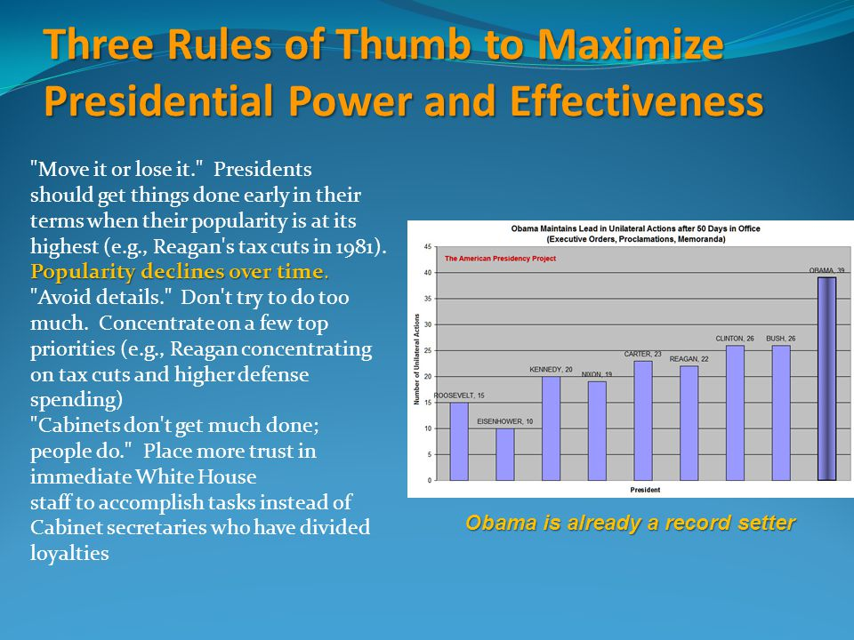 Three Rules of Thumb to Maximize Presidential Power and Effectiveness Move it or lose it. Presidents should get things done early in their terms when their popularity is at its highest (e.g., Reagan s tax cuts in 1981).