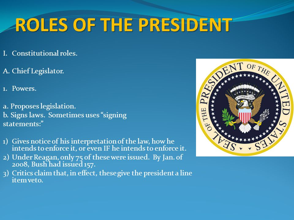 ROLES OF THE PRESIDENT I.Constitutional roles.A.Chief Legislator.