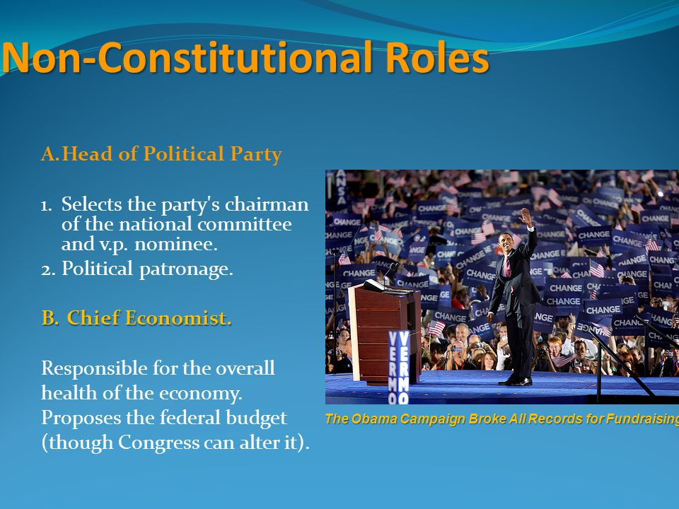 Non-Constitutional Roles A.Head of Political Party 1.Selects the party's chairman of the national committee and v.p. nominee. 2.Political patronage. B