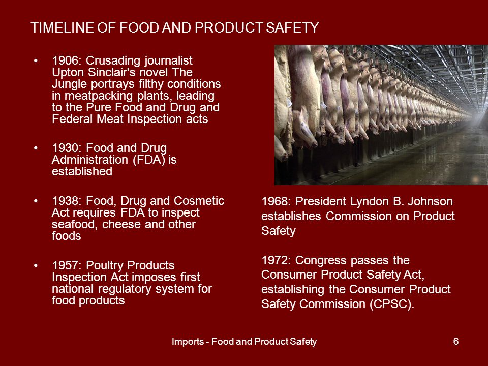 Imports - Food and Product Safety6 TIMELINE OF FOOD AND PRODUCT SAFETY 1906: Crusading journalist Upton Sinclair s novel The Jungle portrays filthy conditions in meatpacking plants, leading to the Pure Food and Drug and Federal Meat Inspection acts 1930: Food and Drug Administration (FDA) is established 1938: Food, Drug and Cosmetic Act requires FDA to inspect seafood, cheese and other foods 1957: Poultry Products Inspection Act imposes first national regulatory system for food products 1968: President Lyndon B.