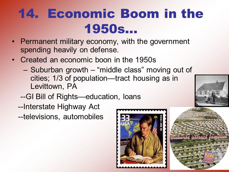 14. Economic Boom in the 1950s… Permanent military economy, with the government spending heavily on defense. Created an economic boon in the 1950s –Su