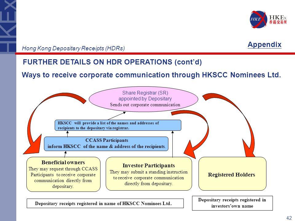 42 Ways to receive corporate communication through HKSCC Nominees Ltd.