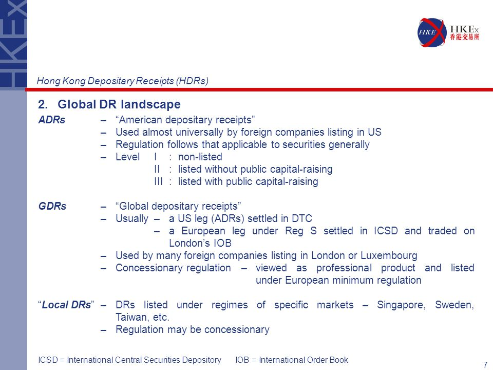 7 2.Global DR landscape ADRs– American depositary receipts – Used almost universally by foreign companies listing in US – Regulation follows that applicable to securities generally – Level І:non-listed ІІ:listed without public capital-raising ІІІ:listed with public capital-raising GDRs– Global depositary receipts – Usually –a US leg (ADRs) settled in DTC –a European leg under Reg S settled in ICSD and traded on London's IOB – Used by many foreign companies listing in London or Luxembourg –Concessionary regulation –viewed as professional product and listed under European minimum regulation Local DRs –DRs listed under regimes of specific markets – Singapore, Sweden, Taiwan, etc.