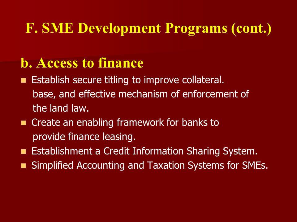 F. SME Development Programs (cont.) b.