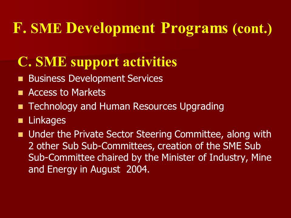 F. SME Development Programs (cont.) C.