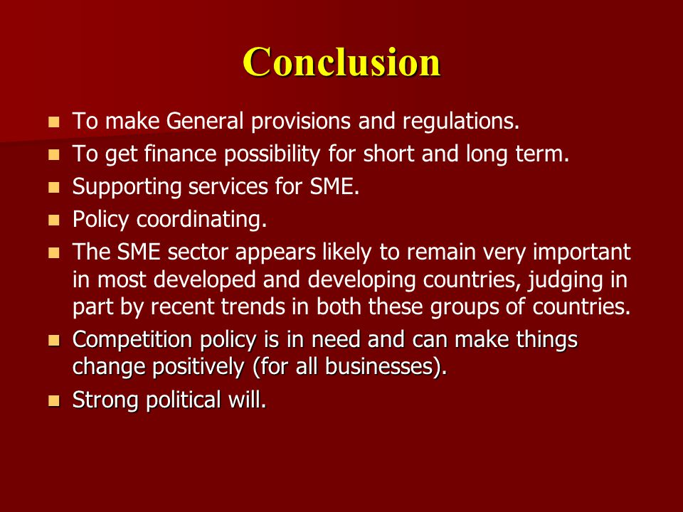 Conclusion To make General provisions and regulations.