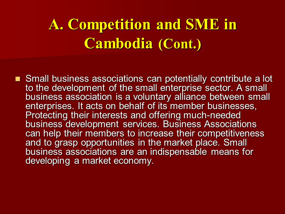 F.SME Development Programs (cont.) b.