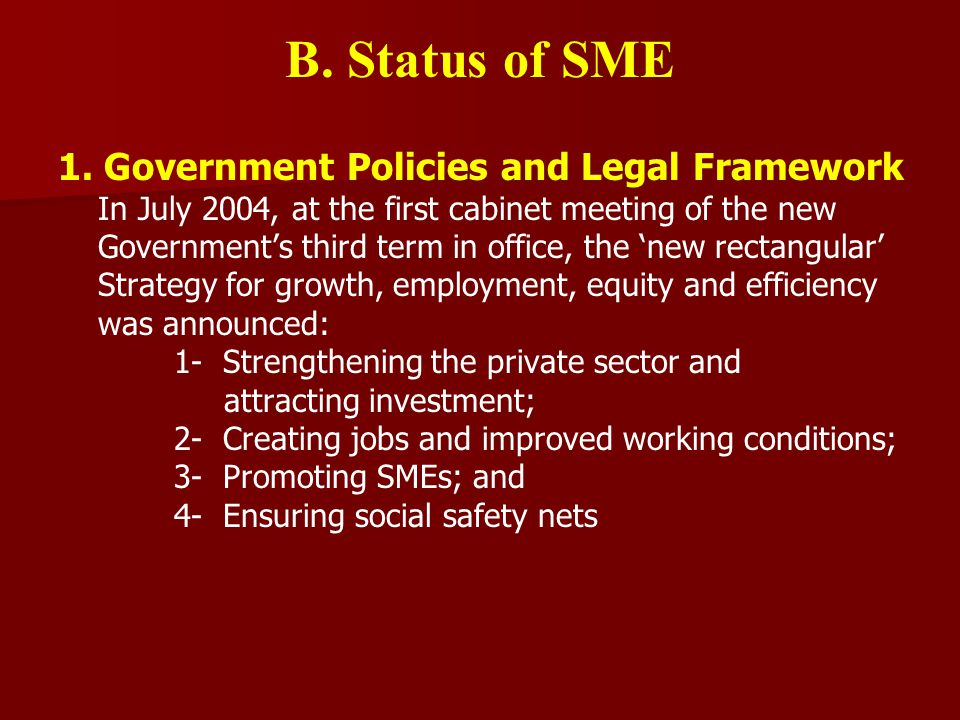 B. Status of SME 1.