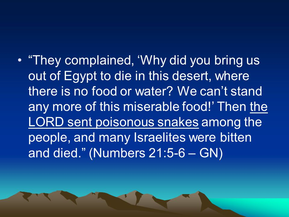 They complained, 'Why did you bring us out of Egypt to die in this desert, where there is no food or water.