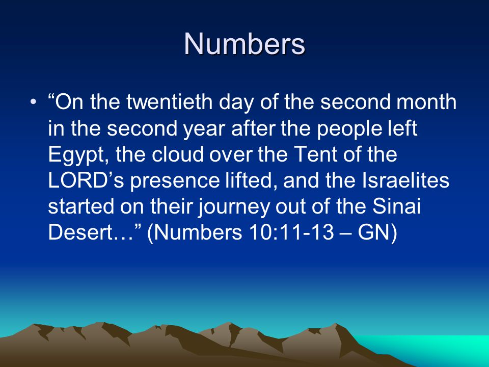 Numbers On the twentieth day of the second month in the second year after the people left Egypt, the cloud over the Tent of the LORD's presence lifted, and the Israelites started on their journey out of the Sinai Desert… (Numbers 10:11-13 – GN)