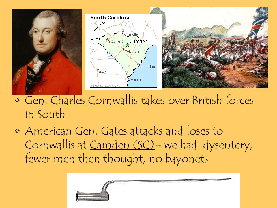 Gen. Charles Cornwallis takes over British forces in South American Gen.