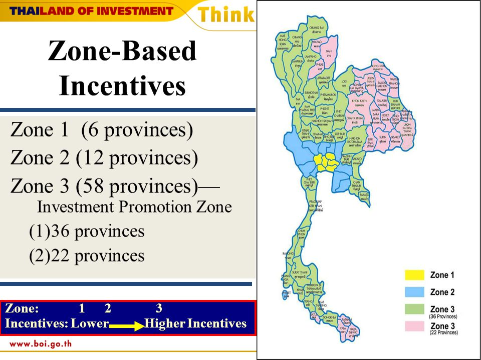 Zone-Based Incentives Zone 1 (6 provinces) Zone 2 (12 provinces) Zone 3 (58 provinces)— Investment Promotion Zone (1)36 provinces (2)22 provinces Zone