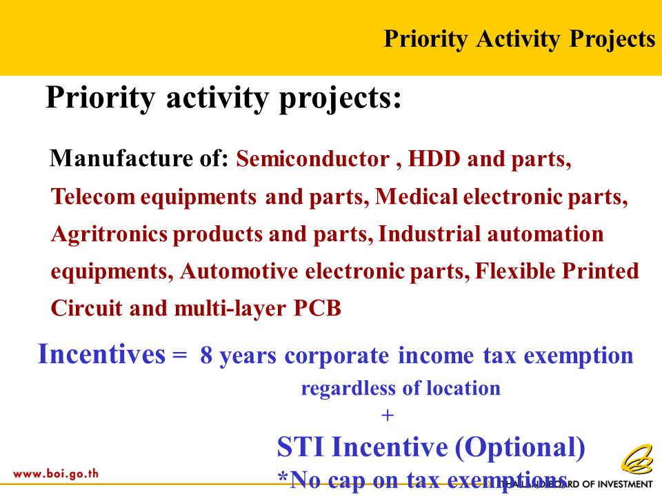 Priority Activity Projects Priority activity projects: Manufacture of: Semiconductor, HDD and parts, Telecom equipments and parts, Medical electronic