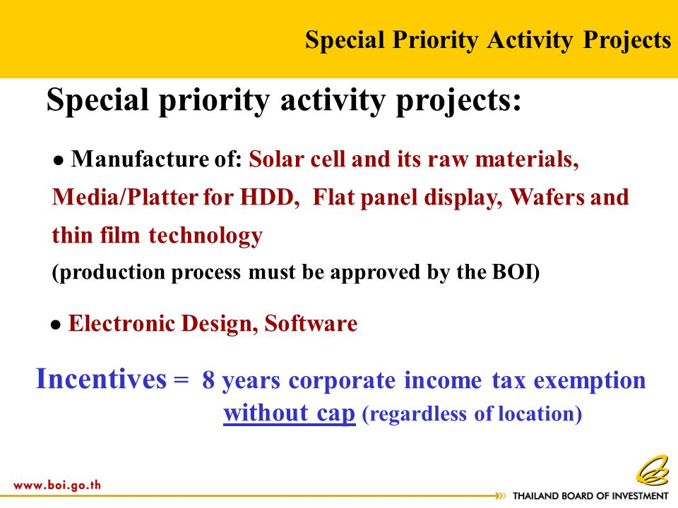 Special Priority Activity Projects Special priority activity projects: ● Manufacture of: Solar cell and its raw materials, Media/Platter for HDD, Flat
