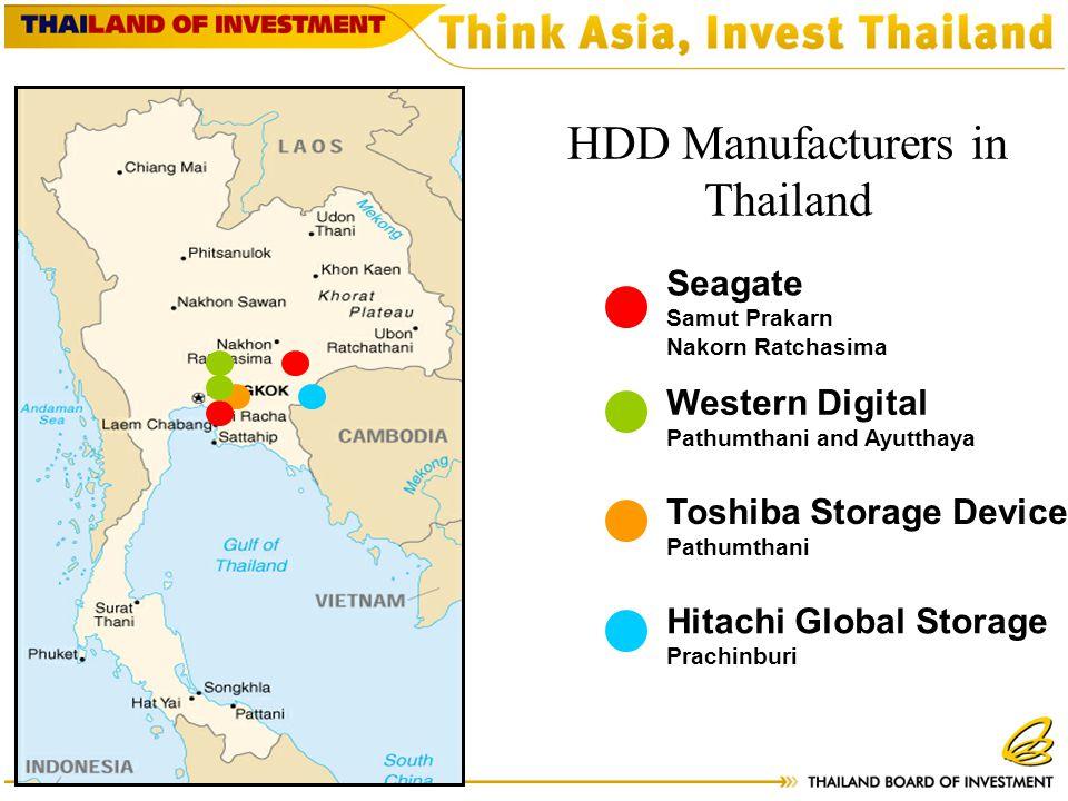 Seagate Samut Prakarn Nakorn Ratchasima Western Digital Pathumthani and Ayutthaya Toshiba Storage Device Pathumthani Hitachi Global Storage Prachinburi HDD Manufacturers in Thailand