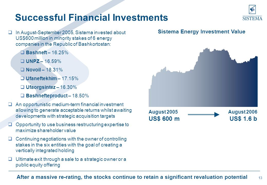 13  In August-September 2005, Sistema invested about US$600 million in minority stakes of 6 energy companies in the Republic of Bashkortostan:  Bash