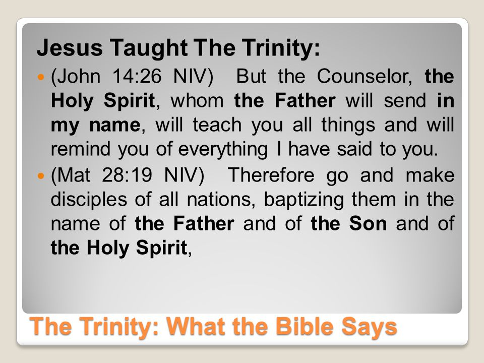 The Trinity: What the Bible Says Three In One: The Holy Spirit Is God (Acts 5:3-4 NIV) Lying to the Holy Spirit is Lying to God.