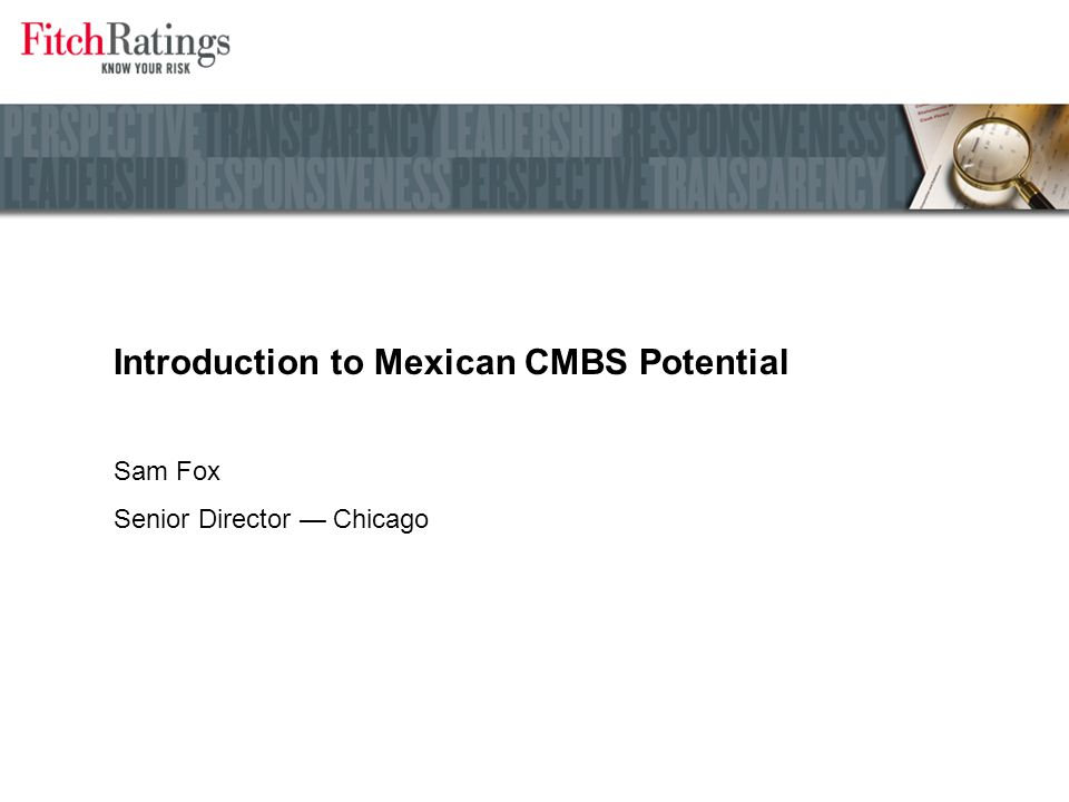Introduction to Mexican CMBS Potential Sam Fox Senior Director — Chicago