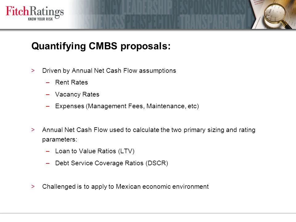 Quantifying CMBS proposals: >Driven by Annual Net Cash Flow assumptions –Rent Rates –Vacancy Rates –Expenses (Management Fees, Maintenance, etc) >Annu