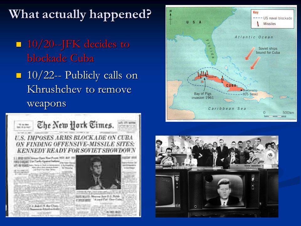 What actually happened? 10/20--JFK decides to blockade Cuba 10/20--JFK decides to blockade Cuba 10/22-- Publicly calls on Khrushchev to remove weapons