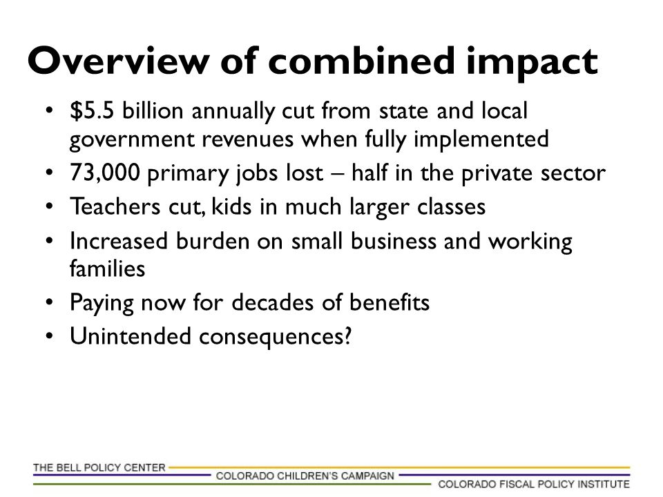 $5.5 billion annually cut from state and local government revenues when fully implemented 73,000 primary jobs lost – half in the private sector Teache