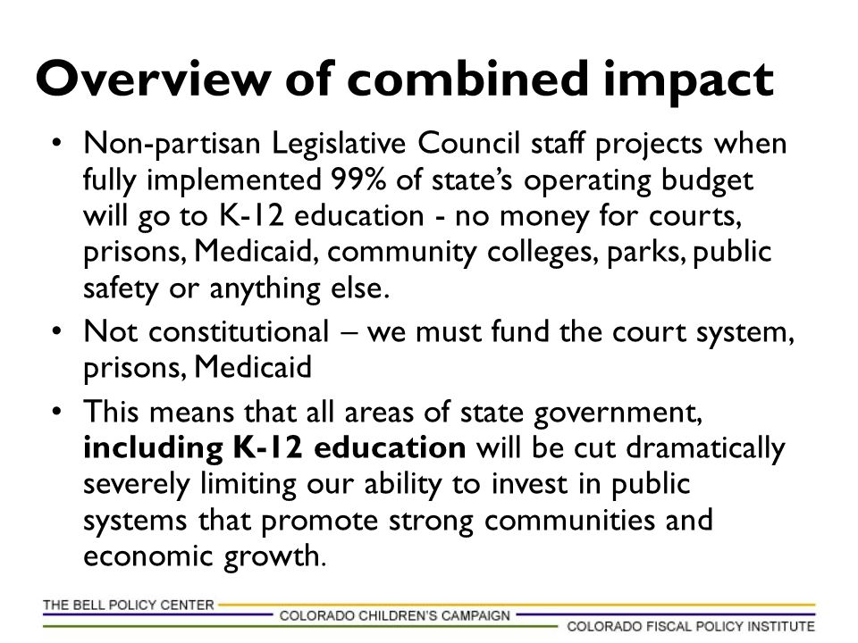 Non-partisan Legislative Council staff projects when fully implemented 99% of state's operating budget will go to K-12 education - no money for courts