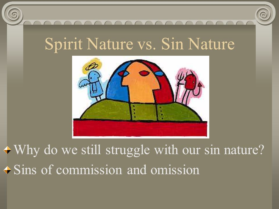Spirit Nature vs. Sin Nature Why do we still struggle with our sin nature.