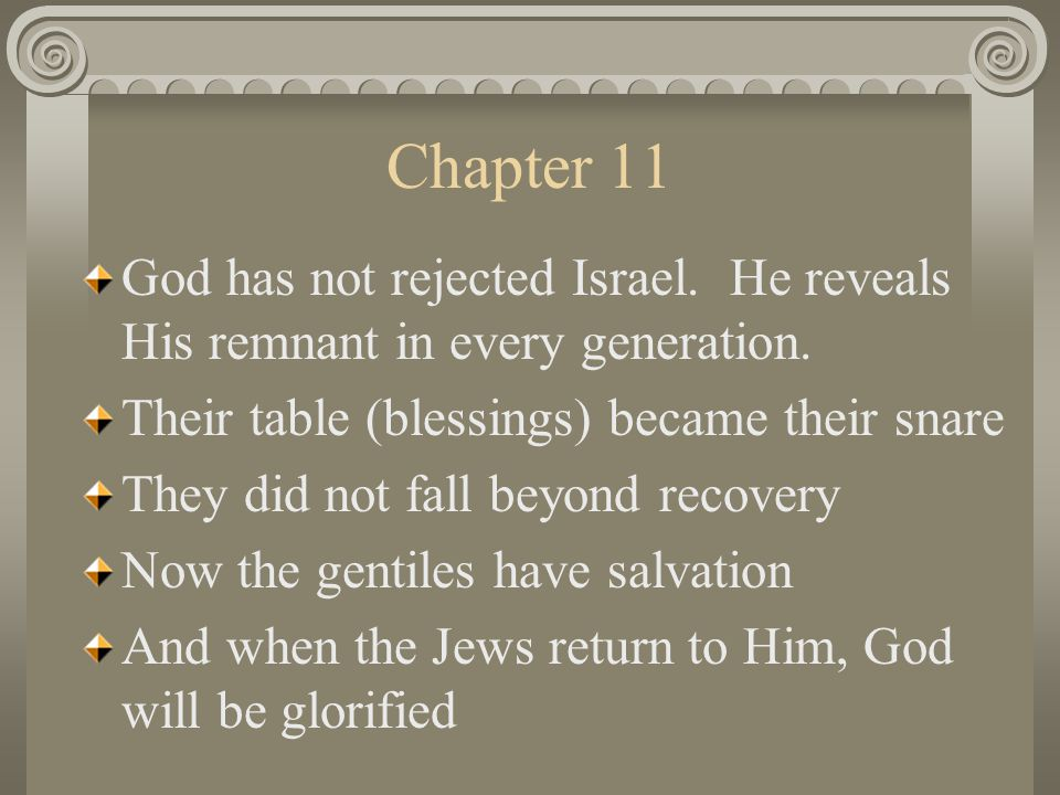 Chapter 11 God has not rejected Israel. He reveals His remnant in every generation.