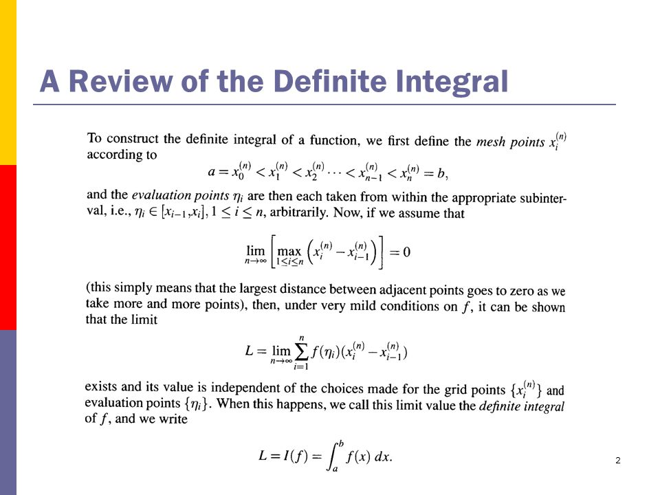 2 A Review of the Definite Integral