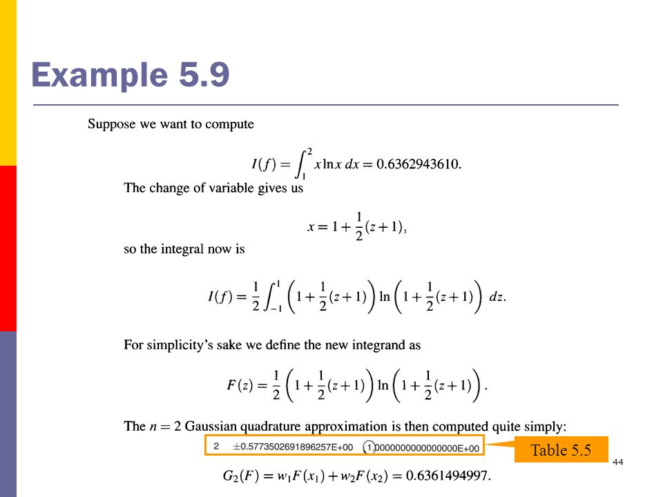 44 Example 5.9 Table 5.5