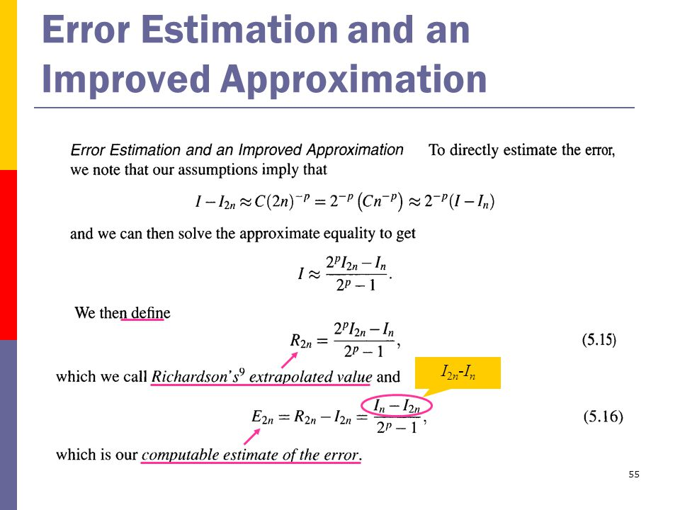 55 Error Estimation and an Improved Approximation I2n-InI2n-In