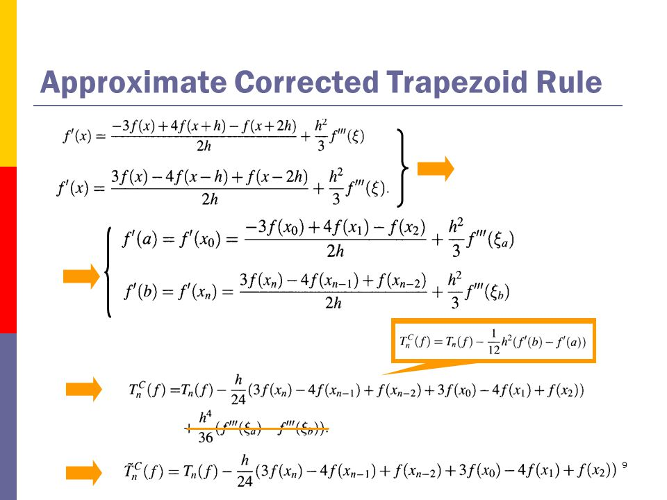 9 Approximate Corrected Trapezoid Rule