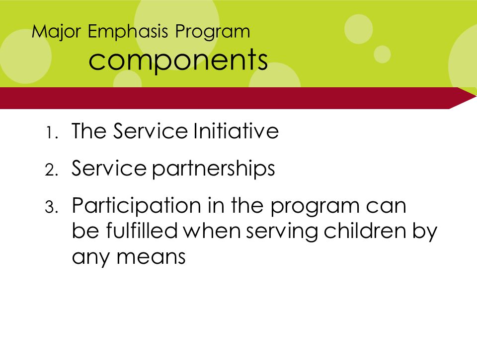 1. The Service Initiative 2. Service partnerships 3.