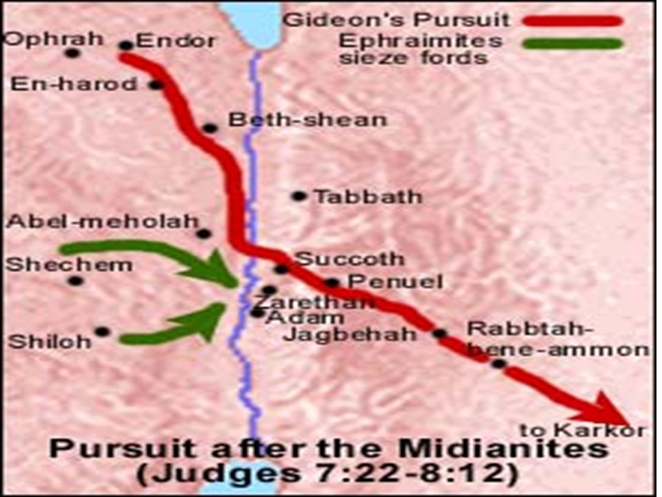 GIDEON'S VICTORY Gideon will capture the TWO Midianite kings and their remaining FORCES (8:10 – 12) He will teach the elders of Succoth and Penuel a LESSON for their betrayal (8:13 – 17) Gideon seeks to find out what happened to his brothers at Tabor.