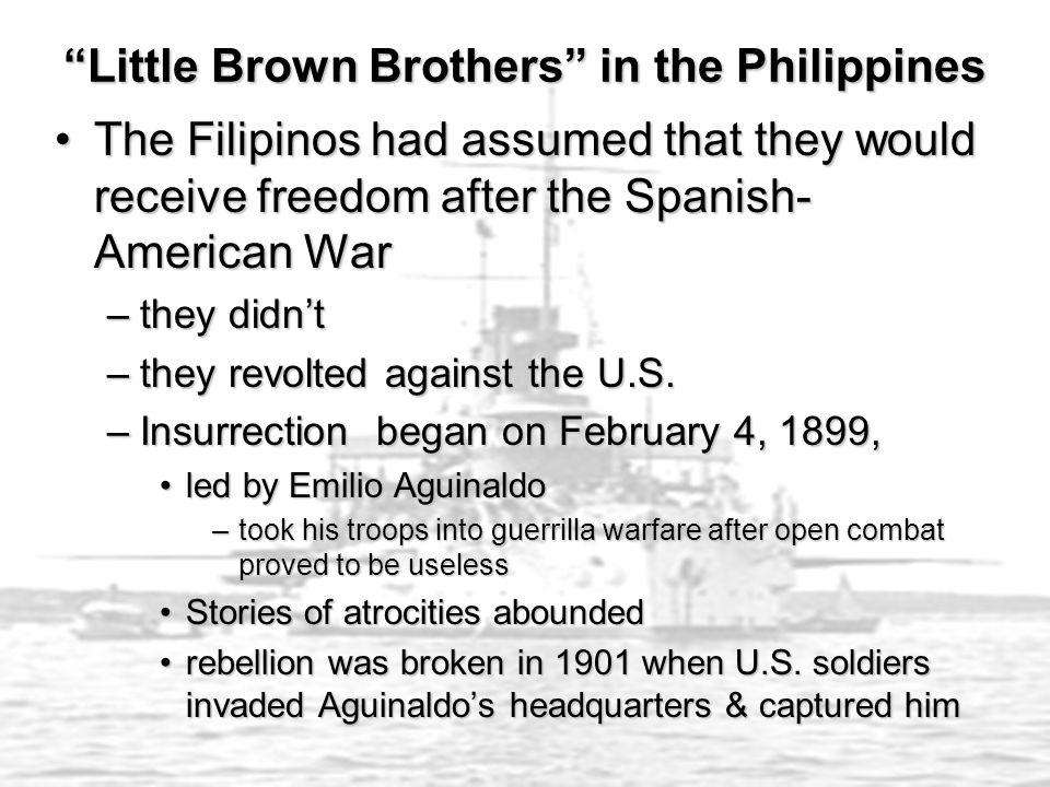 Little Brown Brothers in the Philippines The Filipinos had assumed that they would receive freedom after the Spanish- American WarThe Filipinos had assumed that they would receive freedom after the Spanish- American War –they didn't –they revolted against the U.S.