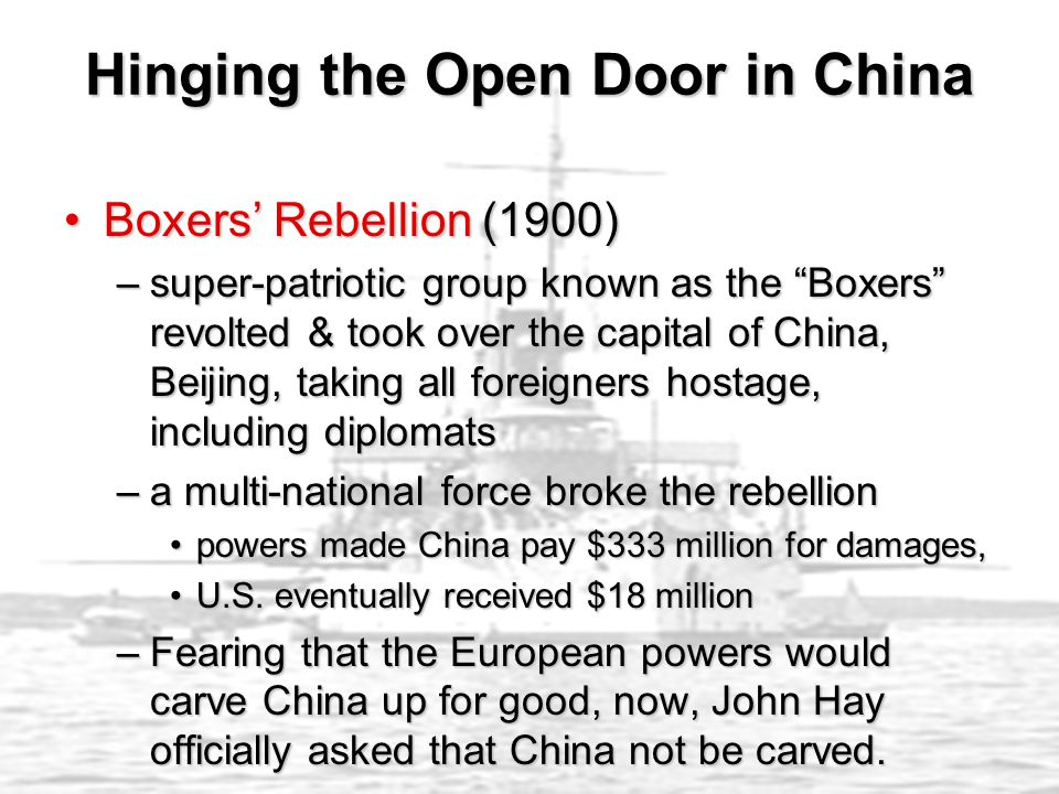 """Boxers' Rebellion (1900)Boxers' Rebellion (1900) –super-patriotic group known as the """"Boxers"""" revolted & took over the capital of China, Beijing, taki"""