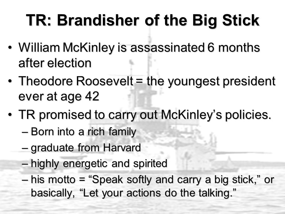 TR: Brandisher of the Big Stick William McKinley is assassinated 6 months after electionWilliam McKinley is assassinated 6 months after election Theod