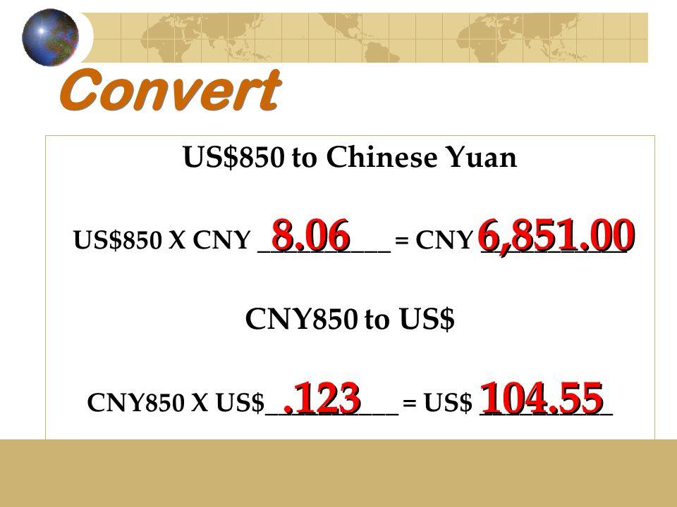 Convert US$850 to Chinese Yuan US$850 X CNY __________ = CNY ___________ CNY850 to US$ CNY850 X US$__________ = US$ __________ 8.06 6,851.00.123 104.5