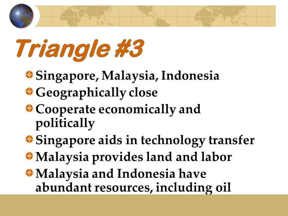 Triangle #3 Singapore, Malaysia, Indonesia Geographically close Cooperate economically and politically Singapore aids in technology transfer Malaysia