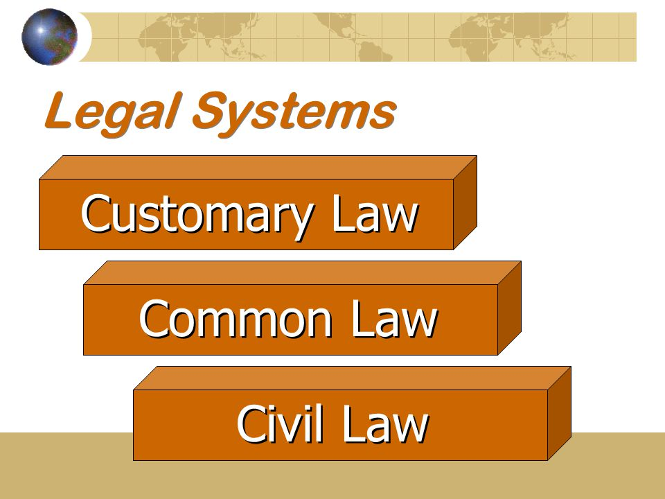 Legal Systems Customary Law Common Law Civil Law