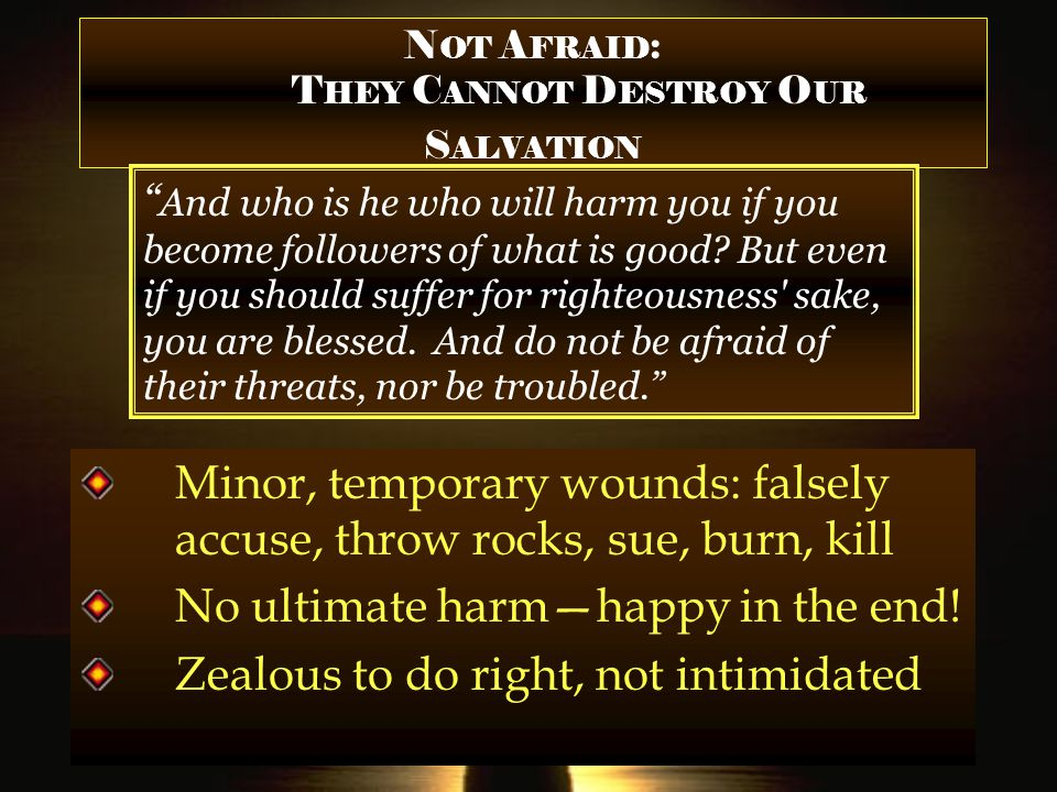 N OT A FRAID : T HEY C ANNOT D ESTROY O UR S ALVATION And who is he who will harm you if you become followers of what is good.