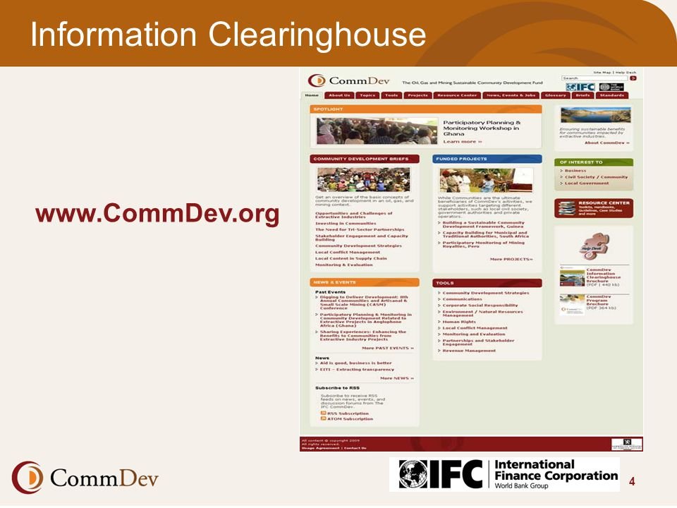 4 Information Clearinghouse www.CommDev.org