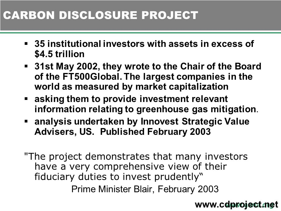 www.asria.org  35 institutional investors with assets in excess of $4.5 trillion  31st May 2002, they wrote to the Chair of the Board of the FT500Global.